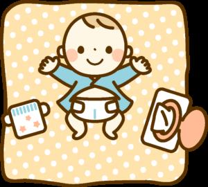 オムツ替え中の赤ちゃん