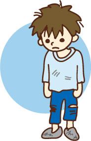 ボロボロの服を着た男の子