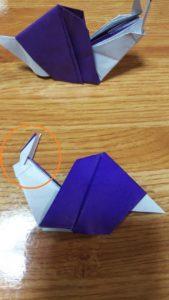 折られた紫色の折り紙