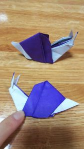 しっぽの伸びた紫色のカタツムリ
