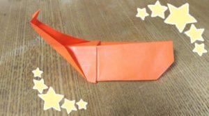 オレンジ色の折り紙で作ったカブトムシ