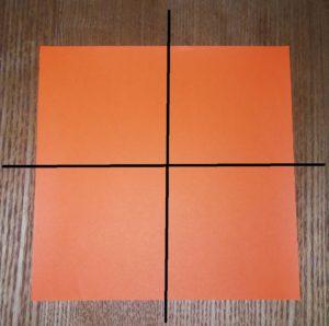 一枚のオレンジの折り紙