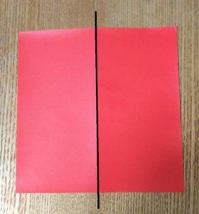 1枚の赤い折り紙