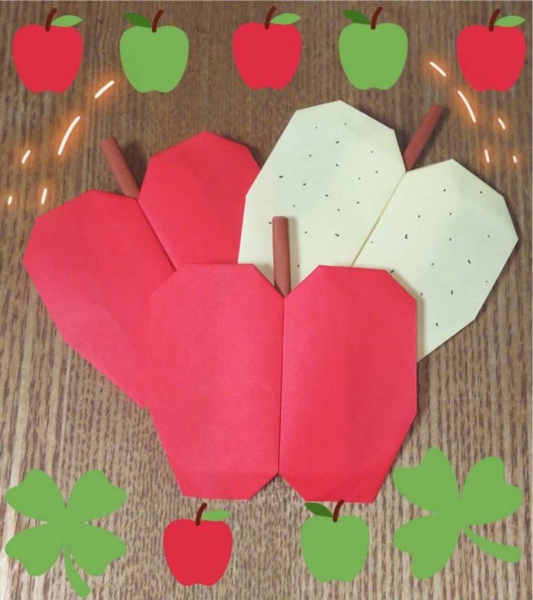 折り紙で作ったリンゴと梨