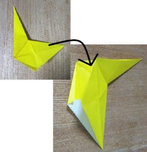 折った2枚の黄色い折り紙