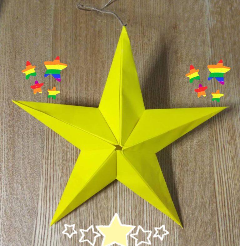 黄色い折り紙5枚で作った立体の星