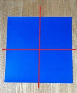 一枚の青い折り紙